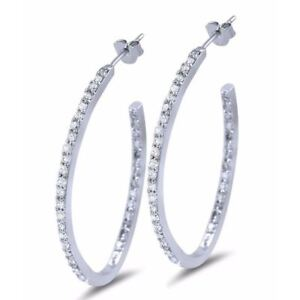 86649f1733722 Details about Oval Inside Out CZ Cubic Zirconia Hoop Earrings in Sterling  Silver Post