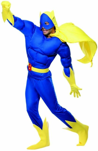 MENS FUNNY NOVELTY STAG DO FANCY DRESS COSTUME BANANA MAN HERO OUTFIT HALLOWEEN