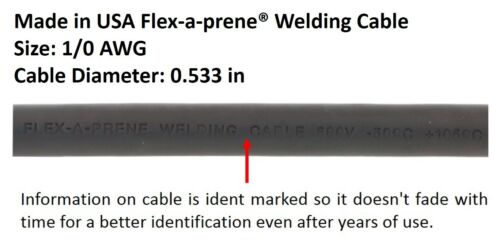 350 Amp Electrode Holder Welding Lead Dinse 35-70 Connector 1//0 Cable 15 FEET.