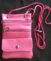 Leather Neck Pouch Passport Id Card Holder Adjustable. New/pink Free Shipping