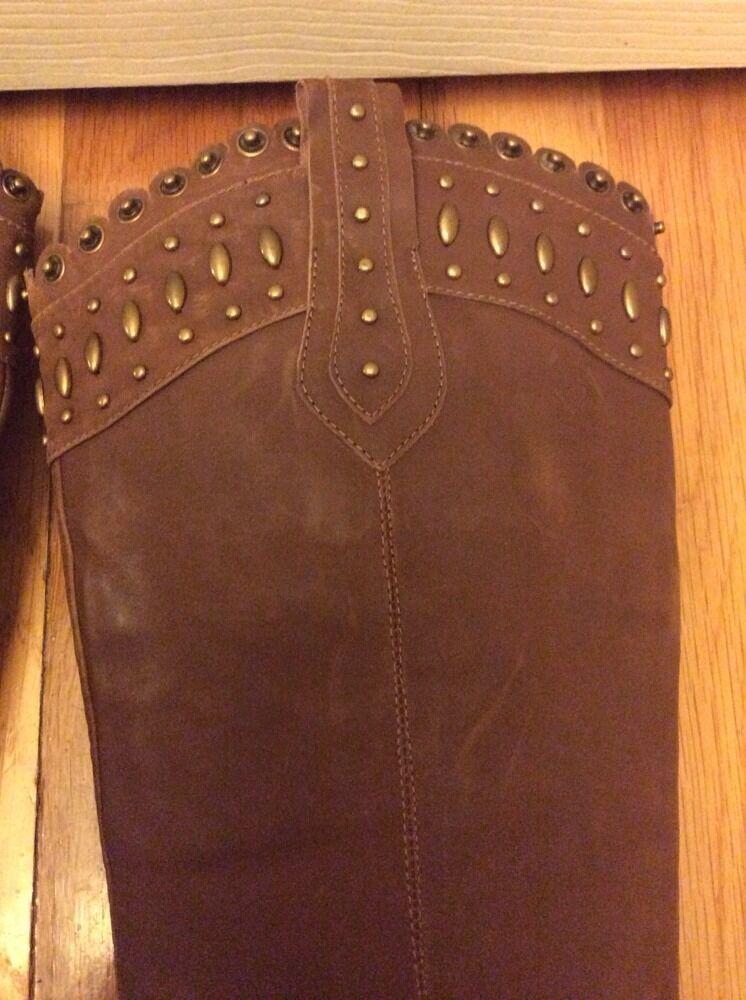 L&JG Genuine Clips Double Leder Chestnyt Metal Clips Genuine Studded Cute Riding Stiefel Sz7 e6dd0d