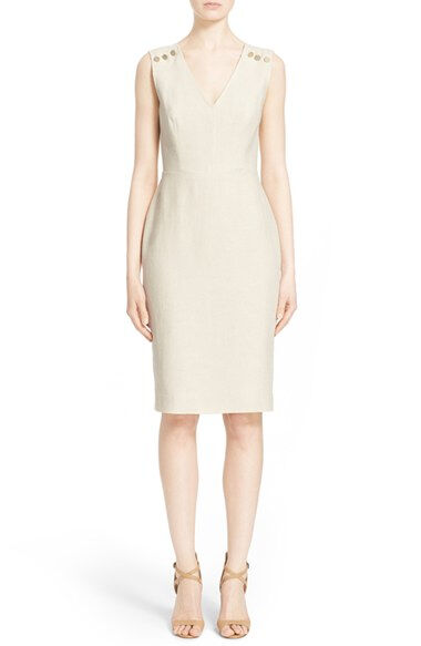 NWT  895 Max Mara Fido Fido Fido Italian Sleeveless Sheath Sand Dress Size 4 8b3f97