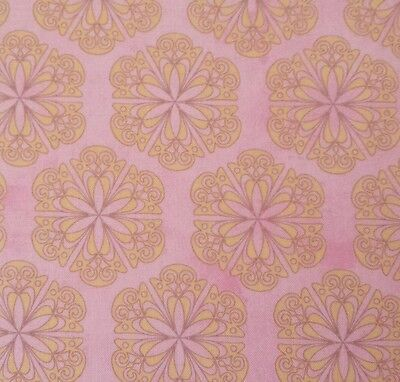 Flower Fantasy Ellie Records BTY Quilting Treasures Yellow Floral Medallion Pink