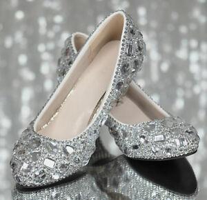 11580b14026a Luxury Great A+ Rhinestone Wedding Shoes Diamond Flat Heels Bridal ...