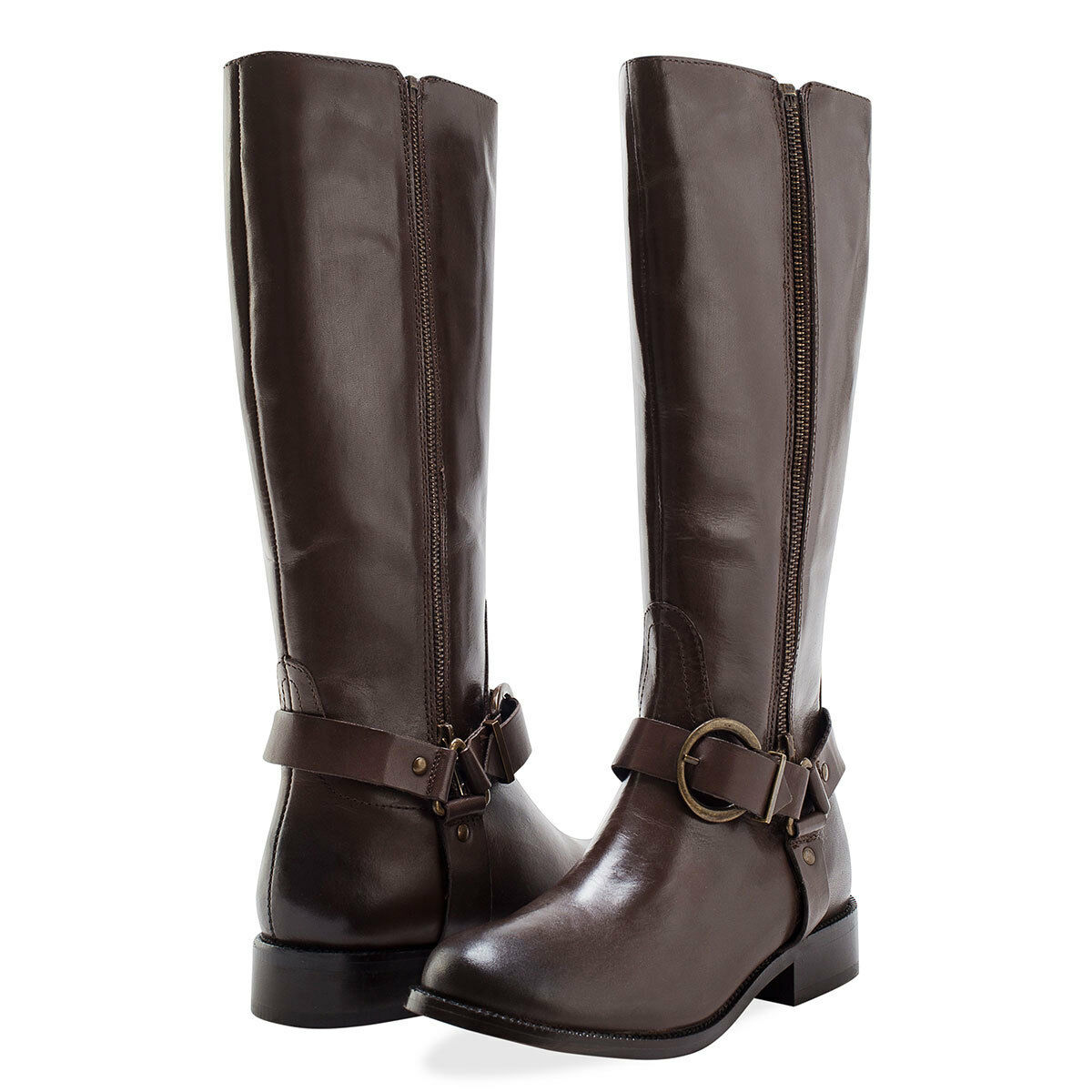 rotfoot damen Leather Twin Zip Stiefel Cowboy Buckle 5 37   NEW braun