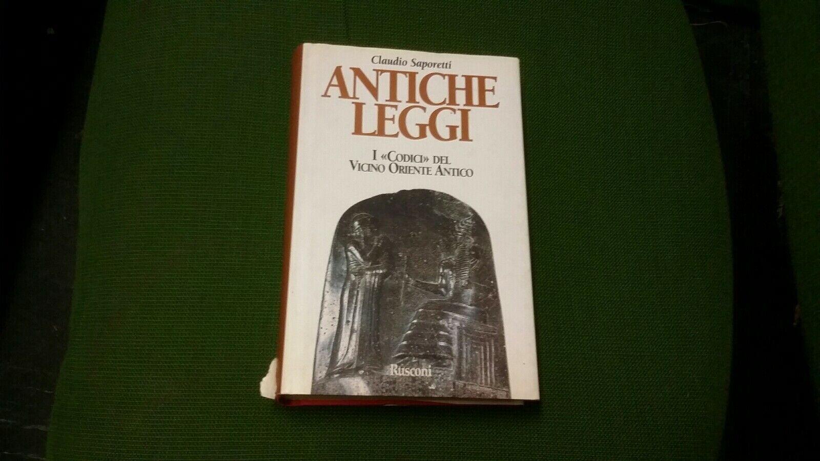 Immagine 1 - C. SAPORETTI, ANTICHE LEGGI, RUSCONI, 1998, 25a21