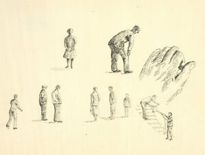 J.A. Pusey - c.1990 Pen and Ink Drawing, A Study of Figures