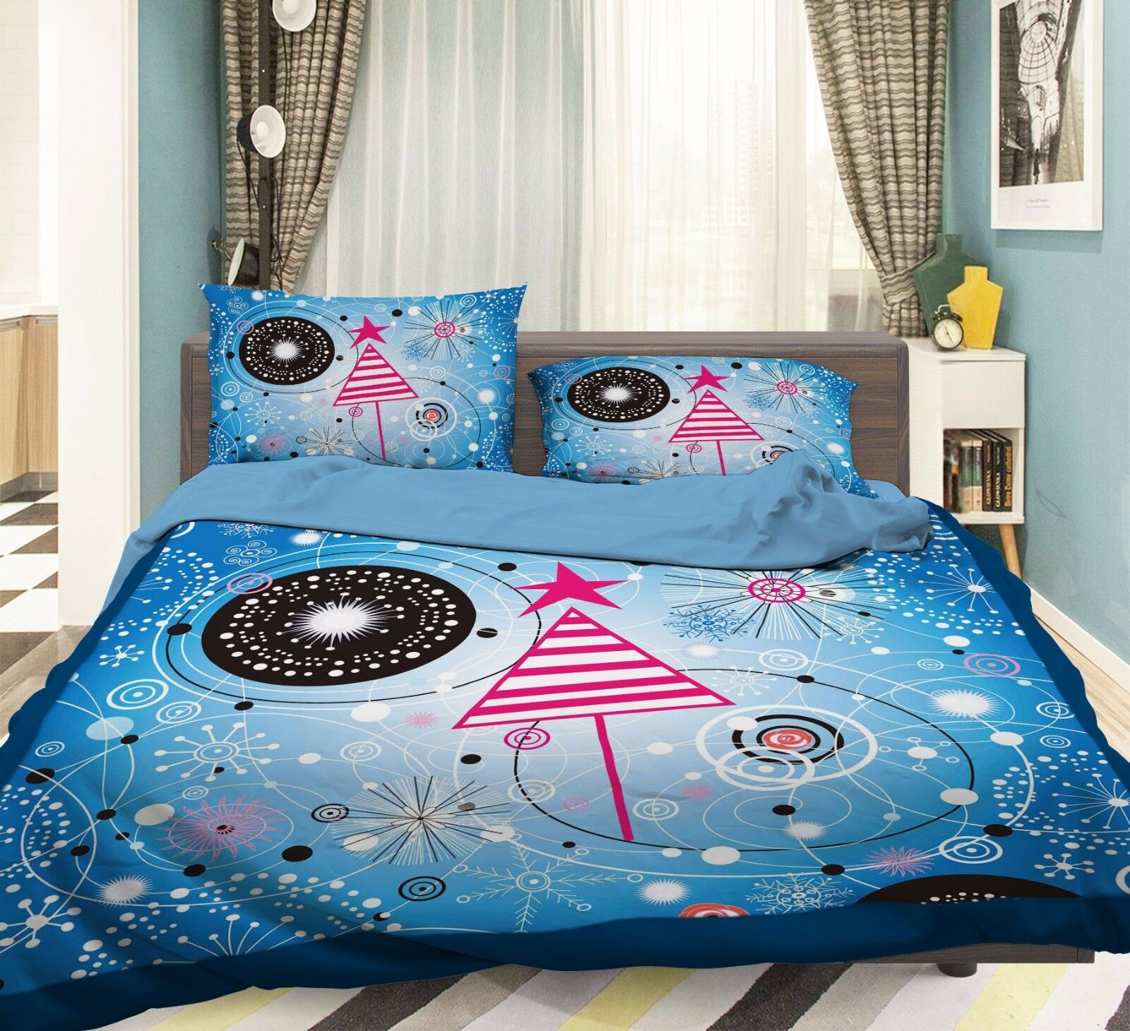 3D Cartoon 909 Bed Pillowcases Quilt Duvet Cover Set Single Queen UK Summer