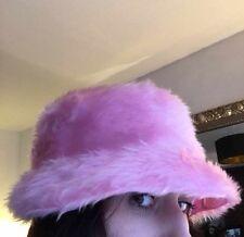 Baby Pink Faux Fur Bucket Hat - Handmade - Festival