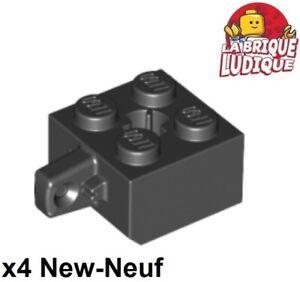 4x Charnière hinge brick brique 2x2 locking 1 bras noir//black 30389b NEW Lego