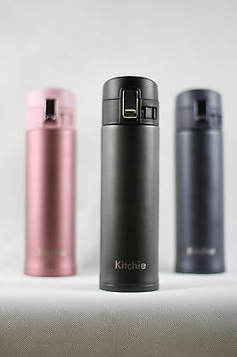 Double Wall Stainless Steel Vacuum Insulated Bottle - One Hand Operation Thermos