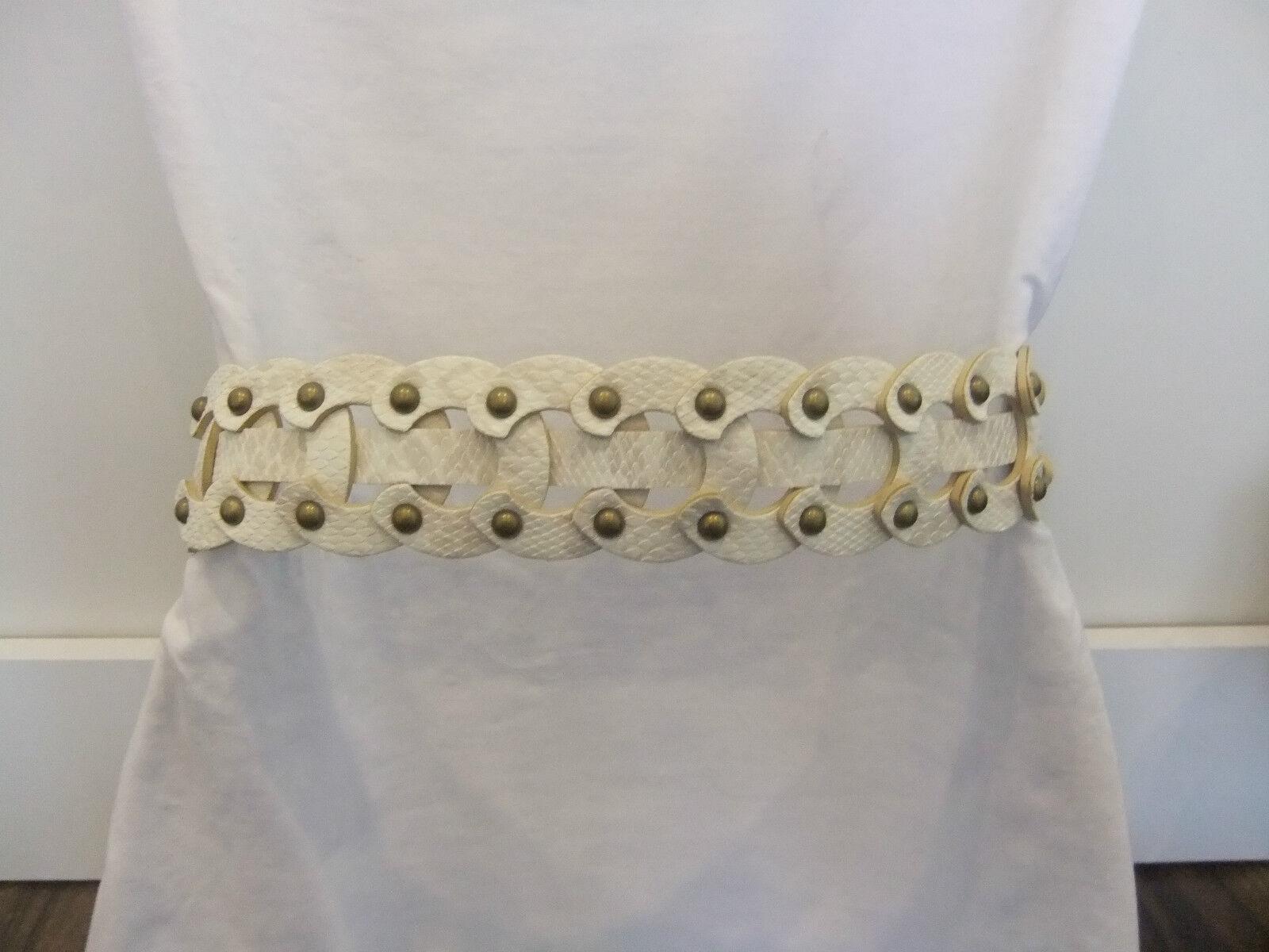 Para mujer Tachonada Blanco Cinturón Animal de la impresión del Faux Leather Nuevo Tamaño M/L