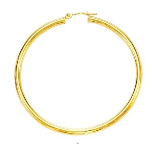 14k Yellow Gold 2mm x 40mm Round Shiny Lite Tube Hoop Earrings