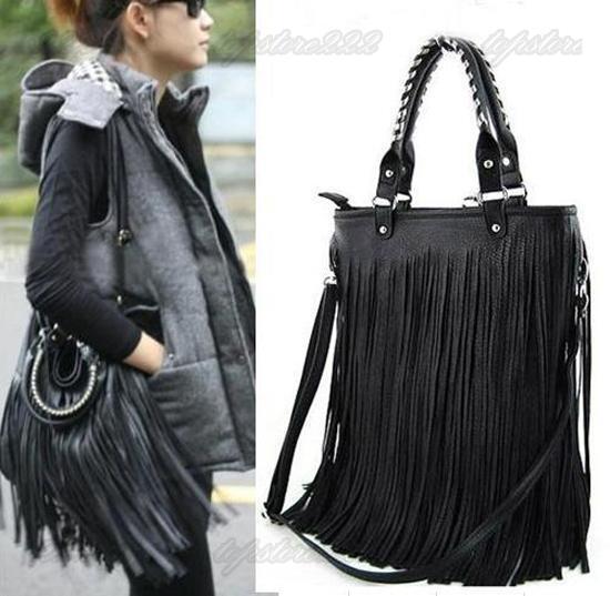 Punk Double Side Tassel Fringe Lady FAUX Leather Handbag Shoulder Bag Black IFA