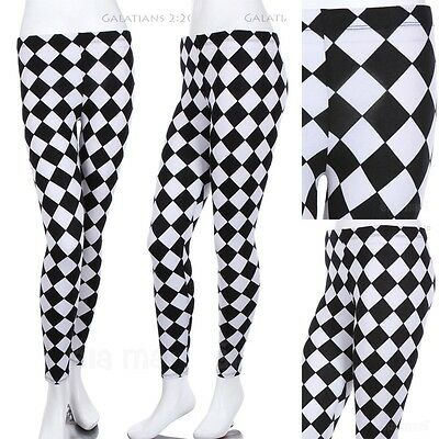 Women's Checkered Print Full Length Cotton Leggings Stretchable Spandex Black
