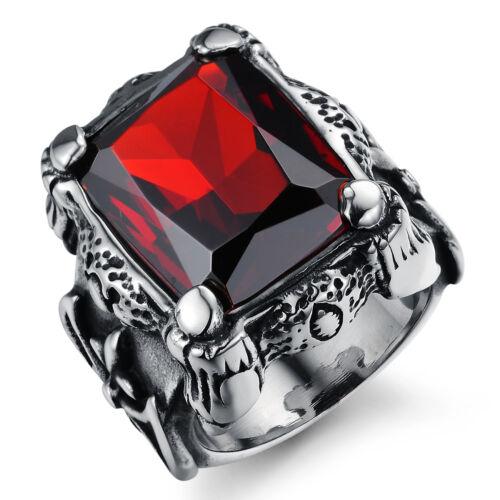 Acero inoxidable señores anillo rubin rojo circonita retro góticos joyas regalo-j430