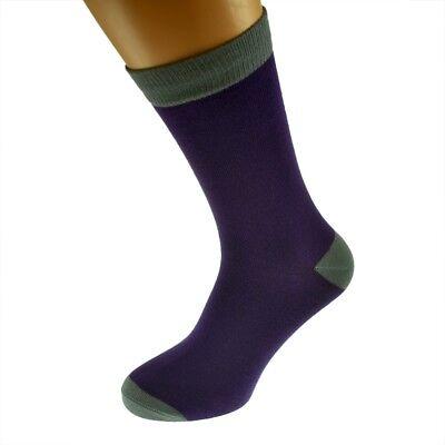 Mens morado Personalizado Calcetines Zapato (5-12) con contraste, tu texto Gris X6N690