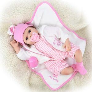 "22/"" Reborn Baby Girl Handmade Lifelike Realistic Doll Dummy Blanket Gift Box"