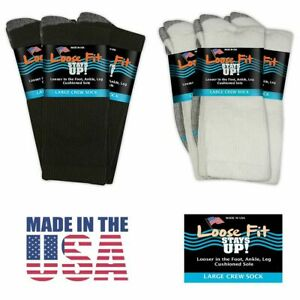 Loose-Fit-Stays-Up-Men-039-s-and-Women-039-s-Casual-Crew-Socks-3-Pack-Made-in-USA