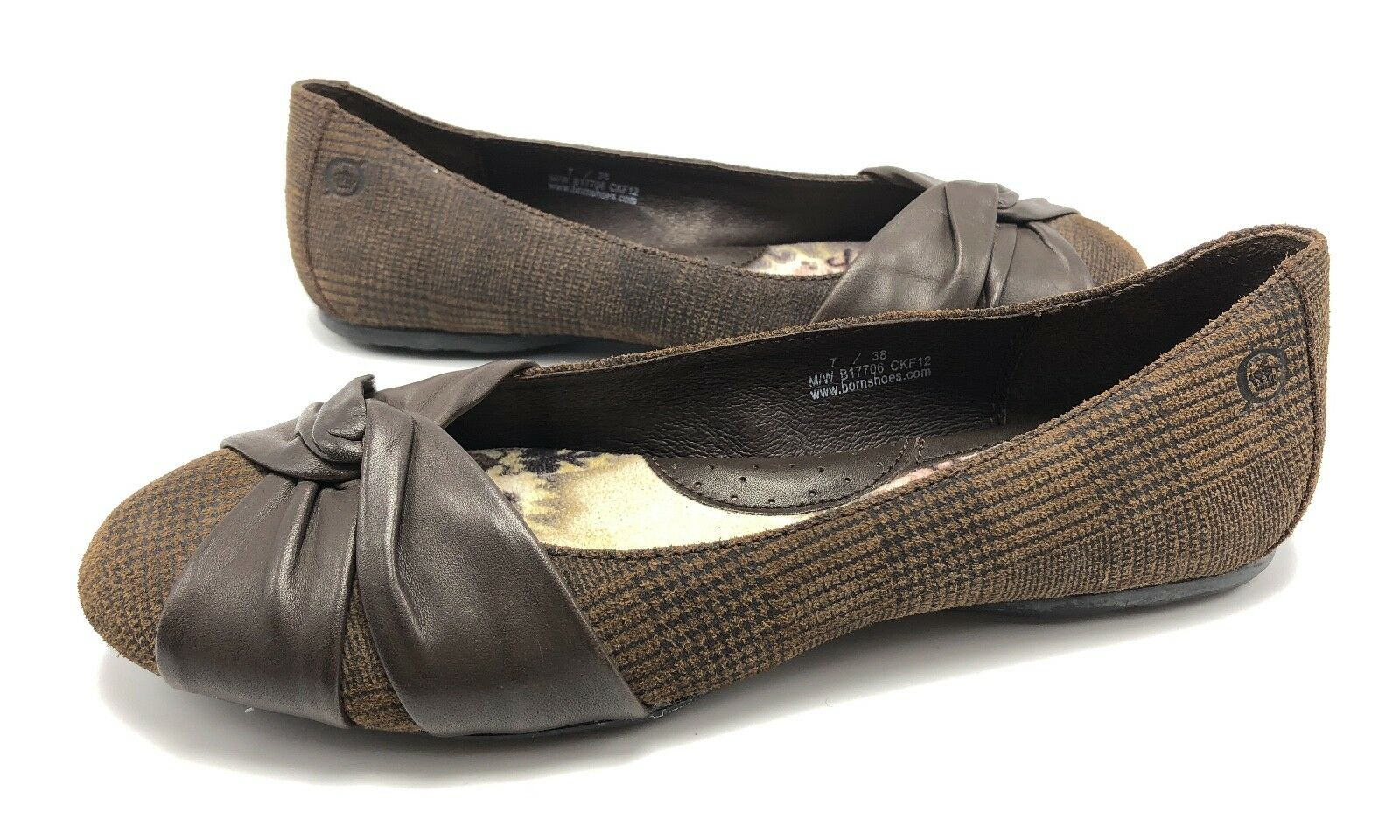 Born Lilly Womens 7M Brown Leather Plaid Round Toe Knotted Ballet Flats shoes