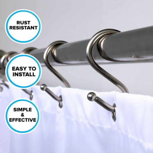 12 Rust Resistant Simple Shower S Hooks Brushed Silver Shower Curtain Hooks