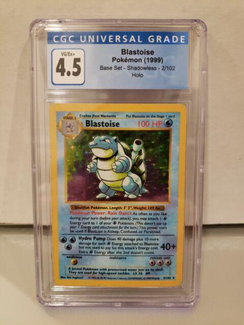 Pokemon 1999 Shadowless Base Set Blastoise #2 Holo CGC 4.5 VG/EX+