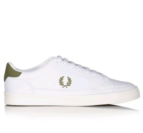 BNIB Fred Perry Deuce Leather Trainers White Khaki UK 7 RRP £65 B3119