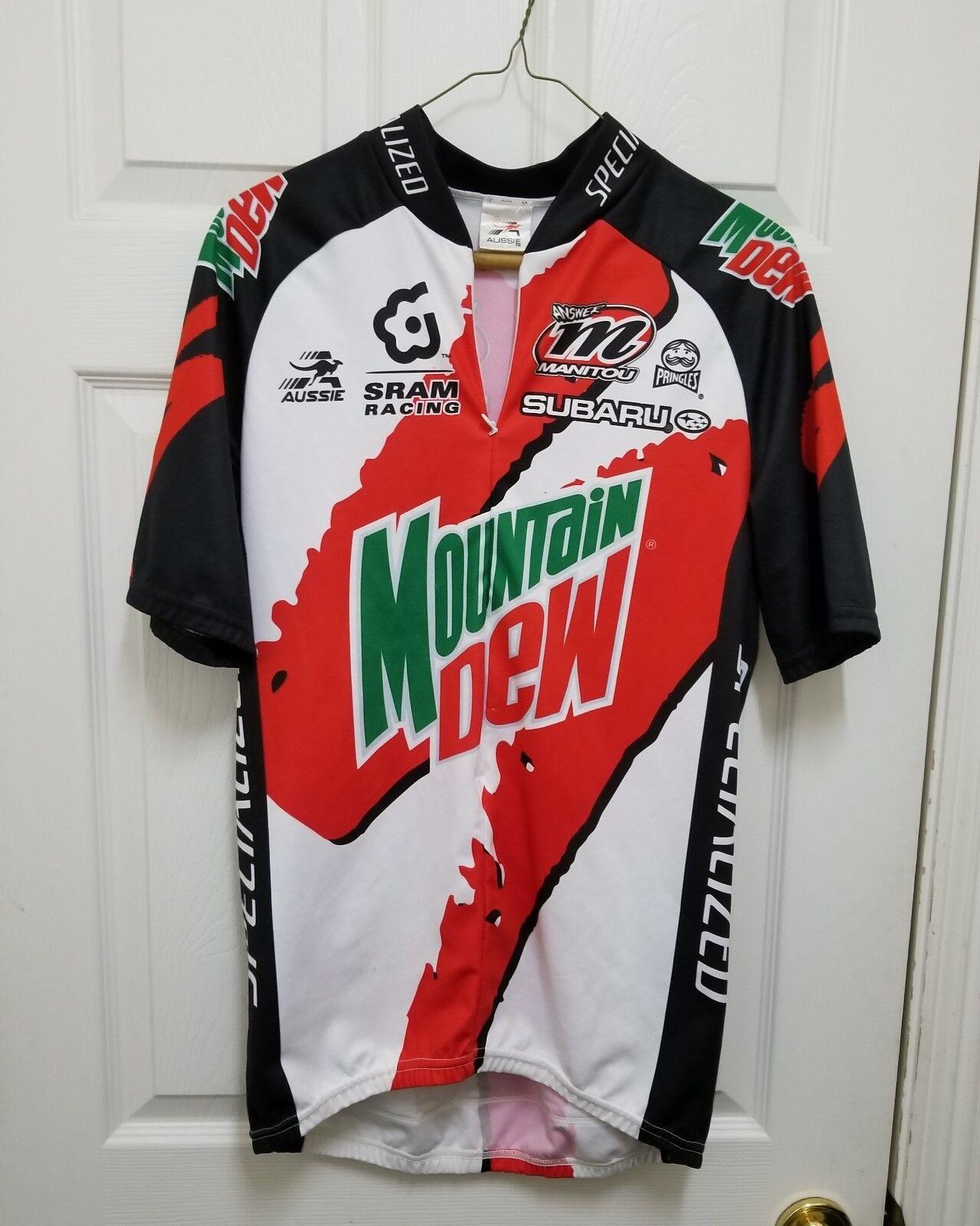 Aussie Specialized Mountain Dew Biking Cycling Jersey Men's SZ L Subaru