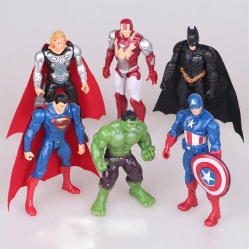 6 PCS The Avengers Hero Captain America//Hulk//Iron Man//Batman Action Figure Toys