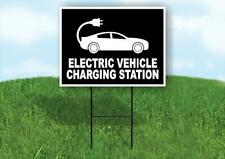 Electric Vehicle Charging Station Black Yard Sign With Stand Lawn Sign