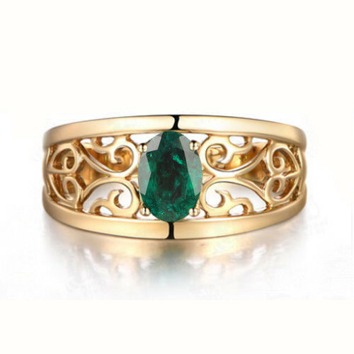 1.20 Carat 14KT Solid Yellow gold Oval Shape Natural Green Emerald Wedding Ring