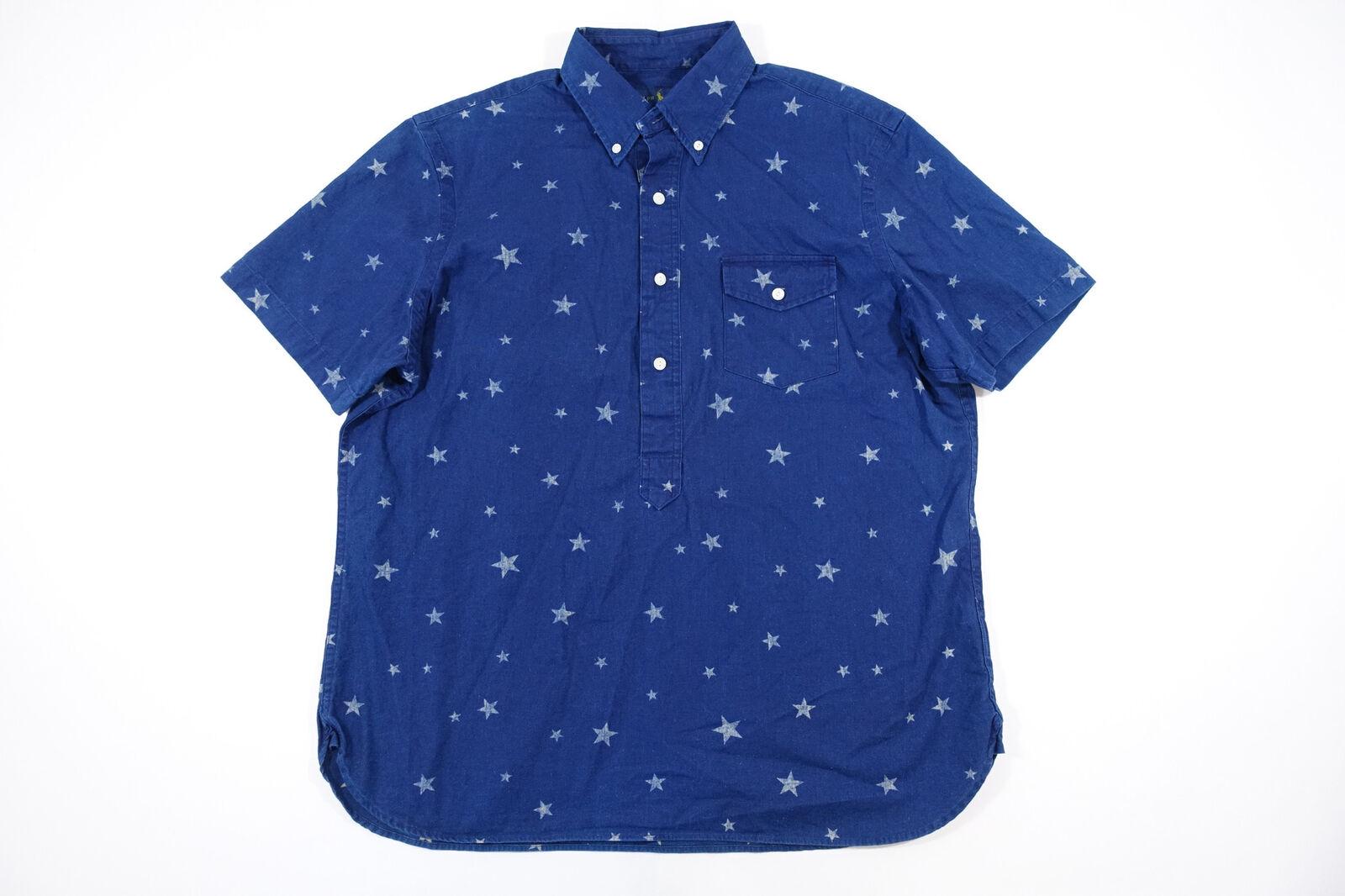 24877ce1 LAUREN FOURTH XS X SMALL STARS PRINT SHORT SLEEVE HALF BUTTON FRONT SHIRT  RALPH npnzpc230-Casual Button-Down Shirts