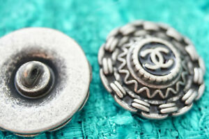 100-Vintage-Authentic-Chanel-Buttons-2-pieces-silver-XL-26-mm-1-inch-cc