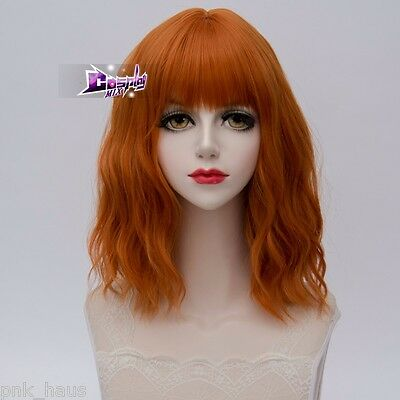 35CM Lolita Orange Medium Hair Curly Women Party Cosplay Wig Heat Resistant+Cap