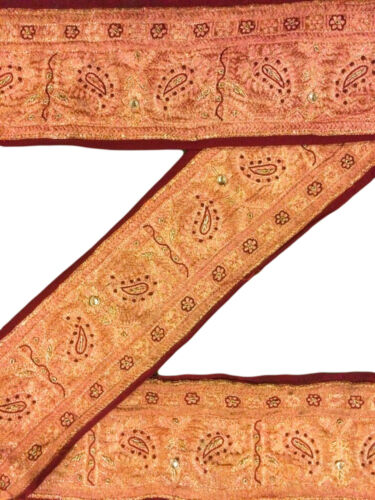 Antique Vintage Sari Border Woven Indian 1 Yard Trim Craft Ribbon Lace ST1357