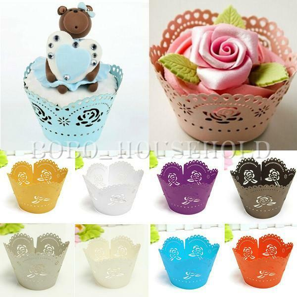 12 Flower Rose Cup Cake Cupcake Wrappers Wrap Cases Wedding Birthday Baby Shower