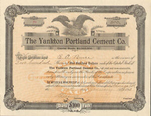 The-Yankton-Portland-Cement-Co-gt-1893-Chicago-Illinois-stock-certificate-share