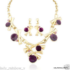 Modern Style Purple Dots 18K Goldr Plated Necklace Earrings Set Bridal Jewelry