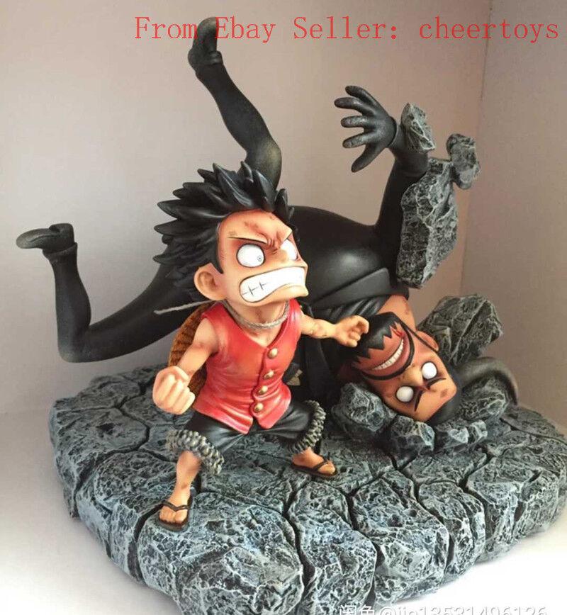 SD One Piece Monkey D Luffy Figura Escultura Modelo vs azulno AK Studio