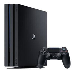 TempéRé Sony Playstation 4 Pro 1 To Console De Jeu-noir-afficher Le Titre D'origine
