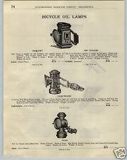 1923 PAPER AD 4 PG Bicycle Lamp Gas Oil Gloria Duplex Search Light Old Sol Solar