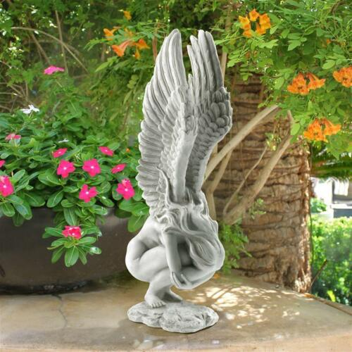 "Medium 15/"" When Angels Mourn Emotional Winged Memorial Angel Sculpture Statue"