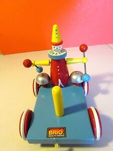 Vintage BRIO Wood Clown Push Toy- LOOK!