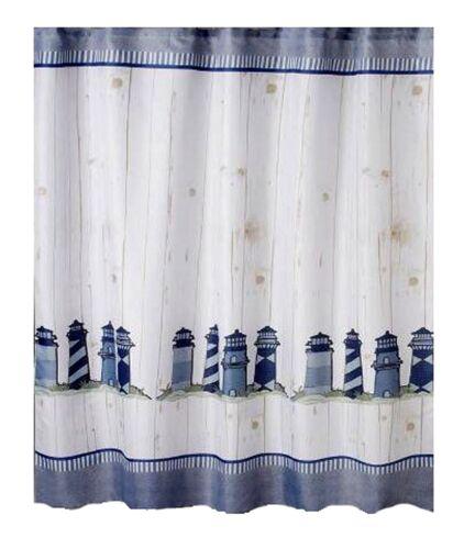 Nautical Coastal Fabric Shower Curtain Lighthouses Shabby Ship Lap Design New