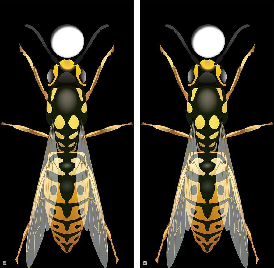 Giant Angry Wasp Cornhole Board Skin Wrap FREE  SQUEEGEE  fitness retailer
