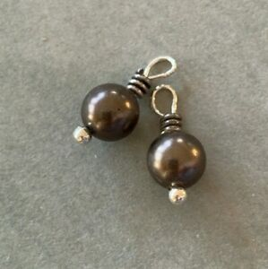 Brighton-Grey-Pearls-with-Silver-Scrollwork-for-Earrings-Necklace-Mini-Lot-of-2