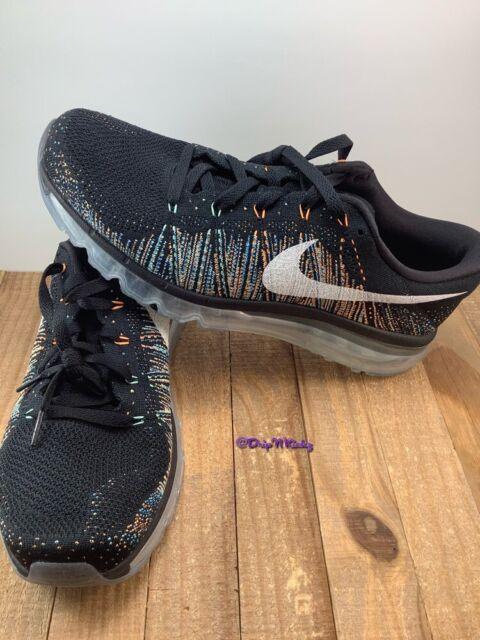 Nike Flyknit Air Max Black Multi Color Glow Men size 11 (620469-015)