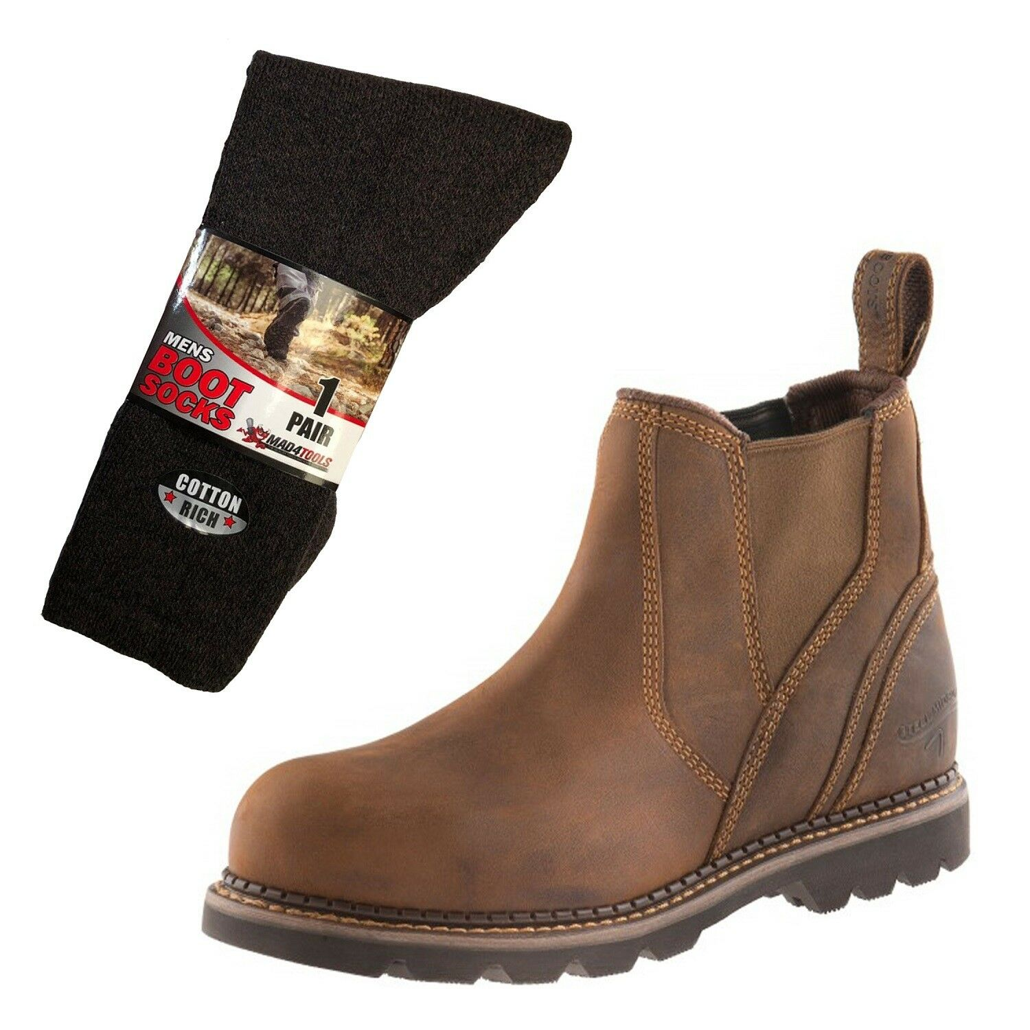 Buckler B1555SM Safety Dealer Boots Brown (Sizes 6-13) & 1 Pair of Socks