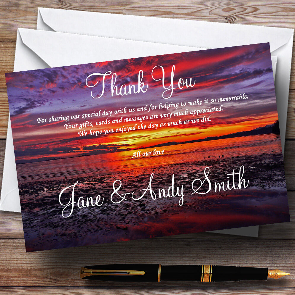 Beautiful lila Sunset Beach Personalised Wedding Thank You Cards