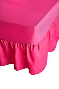 Fuchsia Luxury Percale Fitted Valance Sheet Plain Dyed Frilled Valance All Sizes